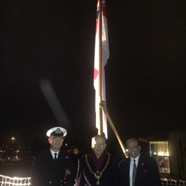 HMS Monmouth (Black Duke), reception and capability demonstration  Britannia Quay, Cardiff, Monday 21st March 2016     The Ships Company gave a demonstration of HMS Monmouth's capabilities to the local VIP guests. The evening ended with the Rt. Hon. Lord Mayor of Cardiff, David Walker and Raj Aggarwal, President of the Consular Association in Wales and Deputy Lieutenant, as honoured guest received the Royal Salute at the traditional ceremony       HMS Monmouth recently completed a 12 million refit and upgrade enabling her to operate at cutting edge of naval warfare.     In the picture from left to right: Commanding Officer, Phil Tilden, Rt Hon. Lord Mayor of Cardiff, Cllr David Walker, Raj Aggarwal, President of the Consular Association of Wales and Deputy Lord Lieutenant