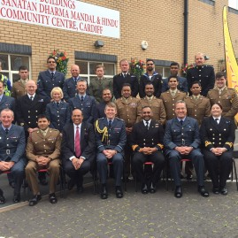 Mr. Aggarwal was the honoured guest at the Armed forces Raksha Bandhan reception, held in Cardiff at The Sanatan Dharam Mandal community centre. A festival dedicated to friendship, and mutual support and protection.  The event was a superb opportunity to reaffirm bonds of brotherhood and mutual support. The ceremony emphasised core values of courage, commitment, discipline, respect , integrity , loyalty as well as Dharma.