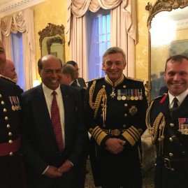 Reception hosted by  First Sea Lord Admiral Sir Philip Jones at Admiralty Whitehall following the musical spectacular, Beating Retreat by Her Majesty 's Royal Marine Bands led by Lt Col Jon Ridley . Naval Regional Commander Graeme Fraser made it extra special.
