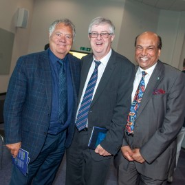 Raj Aggarwal .... Chair of Kidney Wales presented a special recognition award to Cabinet Secretary Mark Drakeford AM in presence of Max Boyce at the The awards ceremony. Kidney Wales Pioneering with Patients and Professionals Awards 2018