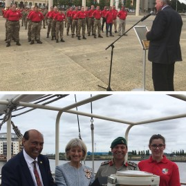 Privilege to observe Lord Dannatt's Around Britain Challenge crew change over parade in #Cardiff attended by Lord Lt, Lord Mayor and @hciwales. Inspiring to meet cadets & veterans sailing @JubileeSailing Tall Ship Lord Nelson together. Fair winds and following seas for final leg. @BrigJkFraserRM - 23rd August 2018
