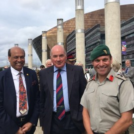 Welcoming Lord Dannatt . Pit stop STS Lord Nelson Tall ship #Cardiff as part of WWI centenary event. Inspirational meeting cadets , veterans and injured soldiers. @BrigJkFraserRM @HCI_London @WalesinIndia @visitwales @UKHouseofLords. @hciwales - 23rd August 2018